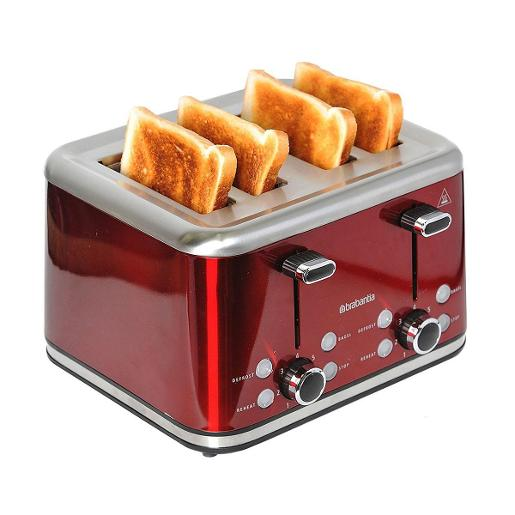 Four Slice Toaster Stainless Steel 1800W Red Metalic