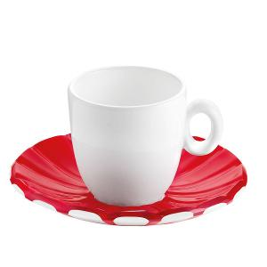 Grace Espresso Cups & Saucers Set of 6 Pieces Red