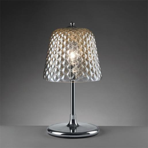 Quilted Table Lamp With Iron Structure And Mirrored Glass Shade Quilted Effect