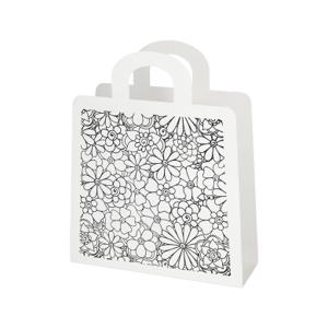 Fleurs Metal Magazine Rack With White Painted Base And Silkscreen