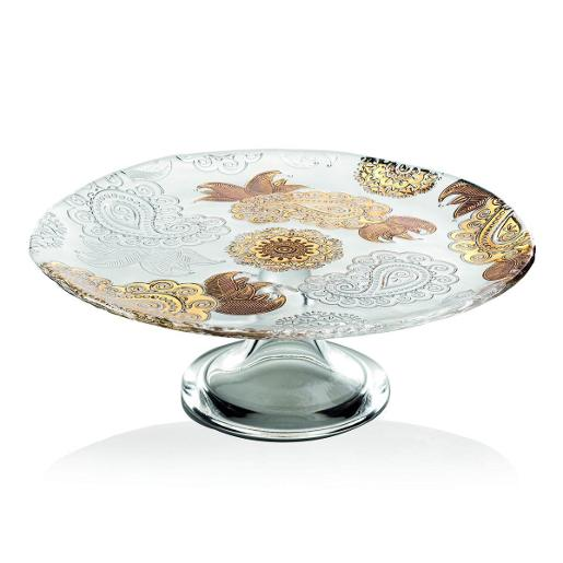 Pashmina Footed Plate Dia 30cm Gold