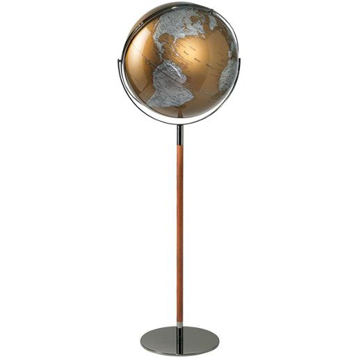 Golden Floor Globe With Metal And Wooden Structure
