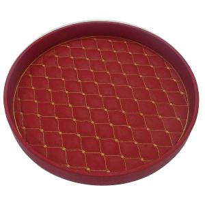 Round Tray Leather Red With Gold Pattern