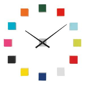 Wall Clock With Adhesive 3D Cubes