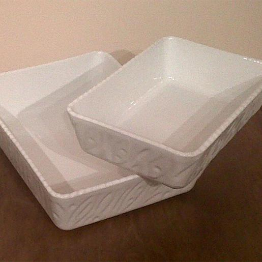 Scalloped Deep Rectangular Dish Dia 32x22x8.5cm