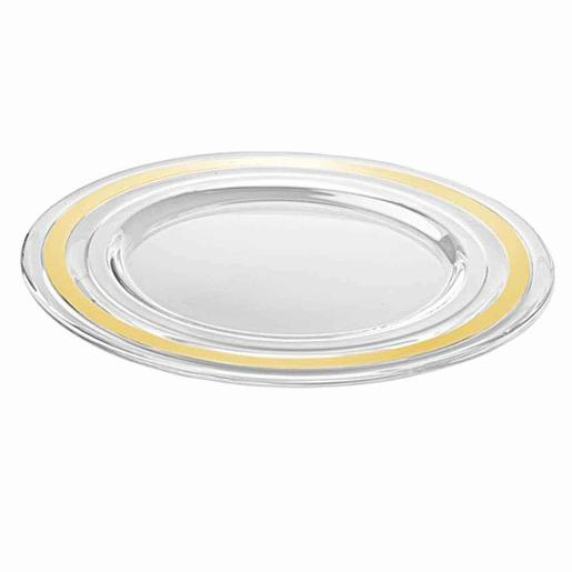Baguette Charger Plate Glass with Gold Band 32cm