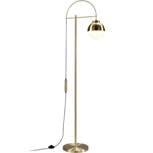 Brass Metal And Glass Floor Lamp With Adjustable Light Height