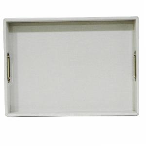 Rectangular Tray Leather With Handle Light Silver