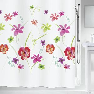 Flower Meadow Shower Curtain Textile Red 180 x 200 cm