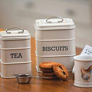 Biscuit Canister Dia 14x19cm Stainless Steel Creme