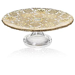 Arabesque Footed Cake Plate 26cm Gold