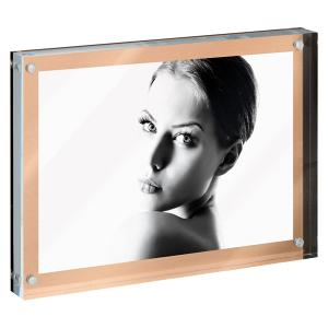 Metallic Acrylic Photo Frame With Metal Foil Base and Magnets
