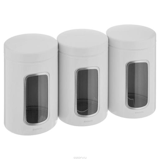 Window Canister 1.4 Liter White Set of 3 Pcs