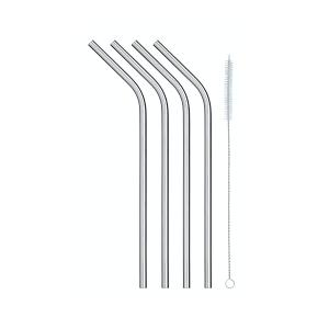 Pack of Four Stainless Steel Reusable Drinks Straws