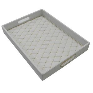 Rectangular Tray Leather White With Gold Pattern