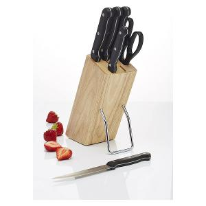 Wooden Knife Block With Knives Set of 6 Pieces