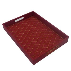 Rectangular Tray Leather Red With Gold Pattern