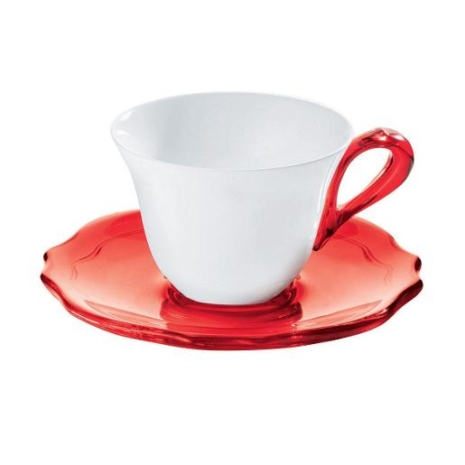 Belle Coffee Cup & Saucer Set of 6 Red