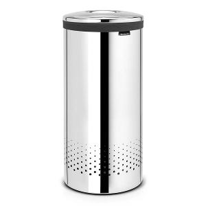 Laundry Bin 35 Litre Metal Lid Brilliant Steel