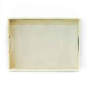 Rectangular Tray Leather With Handle Light Baige