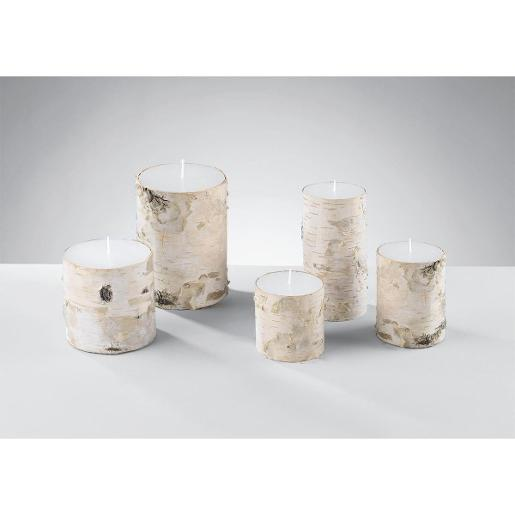Candles From The Bark Line With Birch Bark Coating