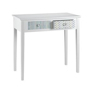 Sweet Wooden Console Table With White Structure And 2 Pastel Coloured Drawers
