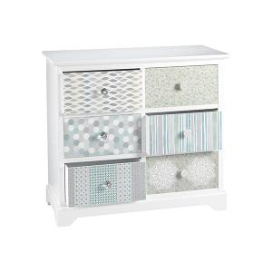 Sweet Wooden Cabinet With White Structure And 6 Pastel Coloured Drawers