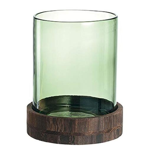 Hurricane Lamp With Wooden Base Dia 25cm Green
