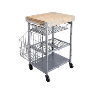 Folding Kitchen Trolley with Mango Wood Butchers Block
