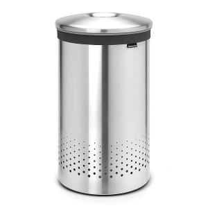 Laundry Bin 60 Liter Metal Lid Matt Steel