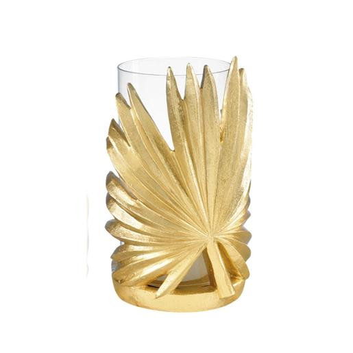 Tropical Glass Candle Holder With Resin Decoration And Base