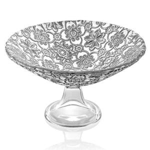 Arabesque Footed Bowl 25cm Silver Leaf Decoration