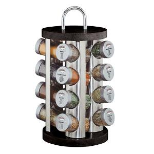 Round Spice Rack With 16 Glasses Black