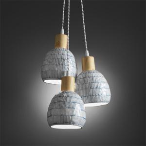 Holiday Ceiling Lamp Composed of 3 Blue And White Porcelain Shades