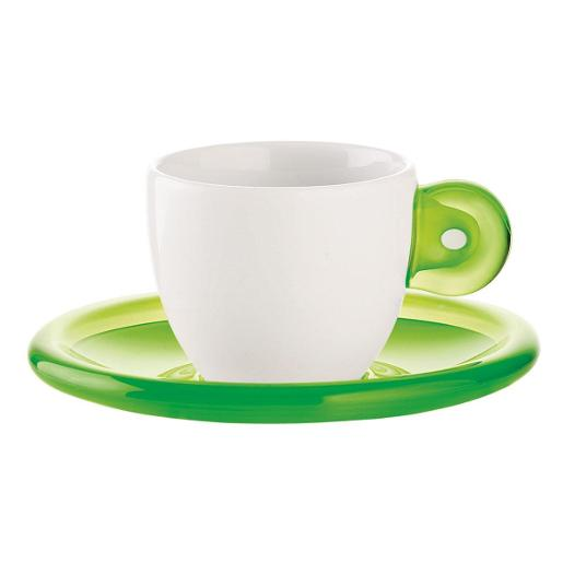 GOCCE Coffee Cup & Saucer Set of 6 Green
