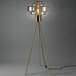 Floor Lamp with Metal Structure & Cognac Colored Glass Shade