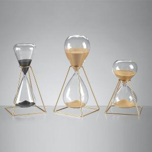 30 Minutes Hourglasses With Golden Metal Structure H 28cm