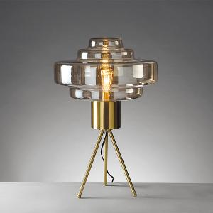 Table Lamp with Metal Structure & Cognac Glass Shade