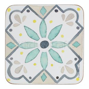 Tile Coasters Green  Set of 6 Pieces