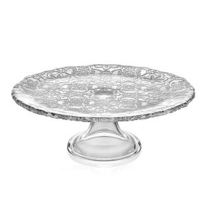 Arabesque Footed Cake Plate 26cm Transperant