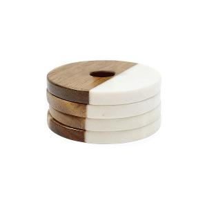 Elements Coaster Set of 4 Pieces Marble/Wood