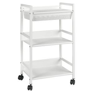 Metal Trolley with Basket White