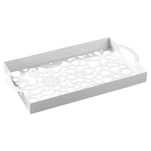White Painted Metal Tray With Laser Cut Design Dia 25x46cm