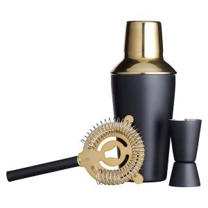 Cocktail Making Kit Brass Finish Set of 3 Pieces