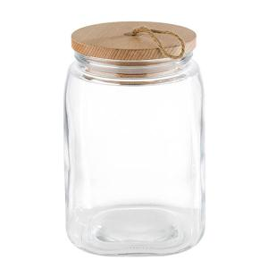 Glass Storage Jar With Wooden Lid  2.5 Liter