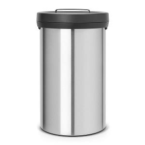 Bin 60 Liter with Lid Matt Steel Fingerprint Proof