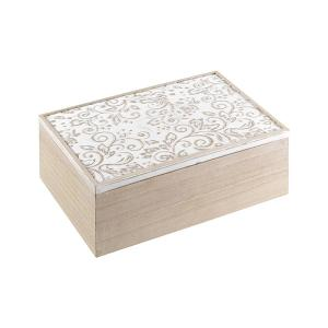 Jasmine Wooden Tea Box With Carved Lid And 6 Compartments