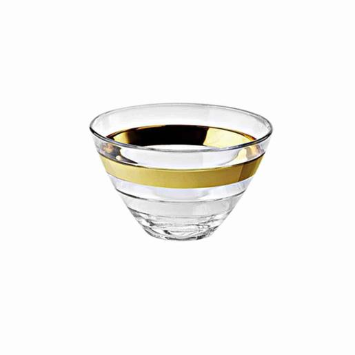 Baguette Individual Bowl Glass with Gold Band 14cm Set of 6 Pieces