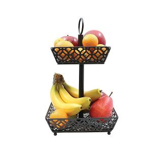 Two Tiered Fruit Basket Square Black