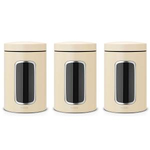 Window Canister 1.4 Liter Almond Set of 3 Pieces